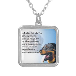 Brother Poem - Rottweiler Silver Plated Necklace
