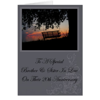 Brother & Sister In Law 20th Anniversary Card
