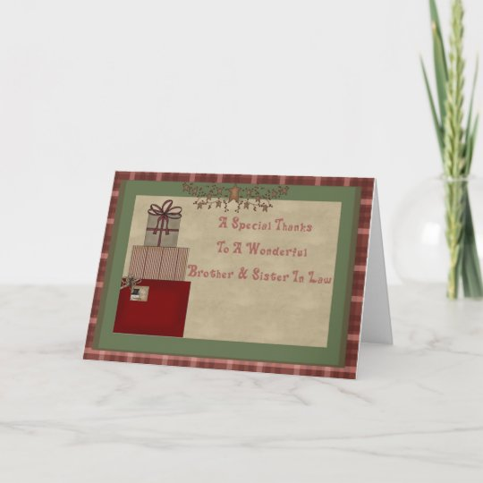 Brother & Sister In Law Christmas Gift Thank You   Zazzle ...