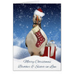 Brother & Sister-in-Law Puffin Christmas Greeting Greeting Card