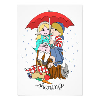 Brother Sister Sharing Umbrella in Rain Custom Invites