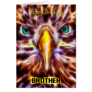 Brother Stylish Birthday Fractal Sea Eagle Greeting Card
