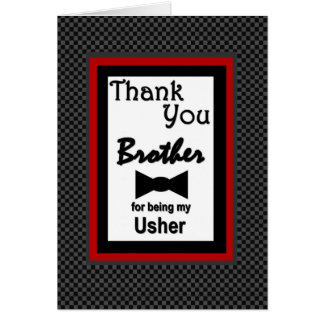 Brother USHER Wedding Thank You with Bow Tie Greeting Card