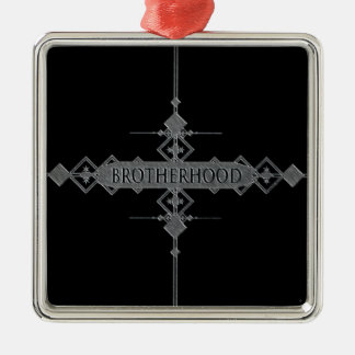 Brotherhood concept. Silver-Colored square decoration
