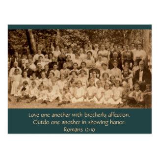 Brotherly Love: Country Church Revival circa 1900 Postcard