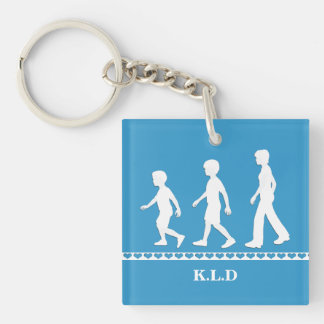Brothers and Sister: Paper Cut-Out Style Siblings Single-Sided Square Acrylic Key Ring