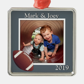 Brothers Football Personalized Photo Christmas Christmas Ornament