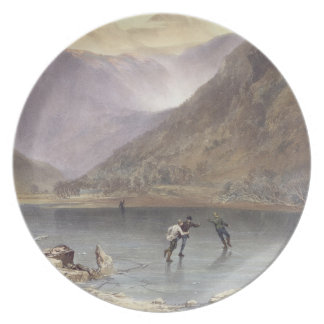 Brothers Water, detail of ice skaters, from 'The E Dinner Plate