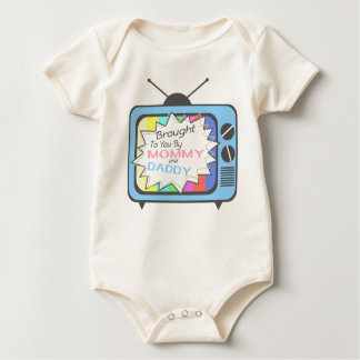 Brought To You By Mommy And Daddy - Blue TV Set Baby Bodysuit