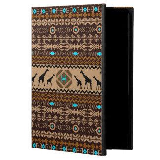 Brow Beige & Turquoise Geometric Ethnic Pattern