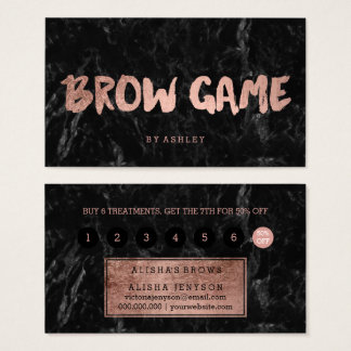 Brow game faux rose gold typography marble loyalty business card