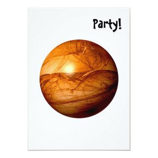 Brown Abstract Globe 13 Cm X 18 Cm Invitation Card
