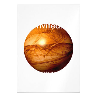 Brown Abstract Globe Magnetic Invitations