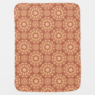 Brown abstract ornamental flower buds baby blanket