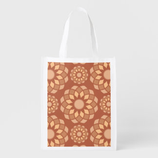 Brown abstract ornamental flower buds reusable grocery bag