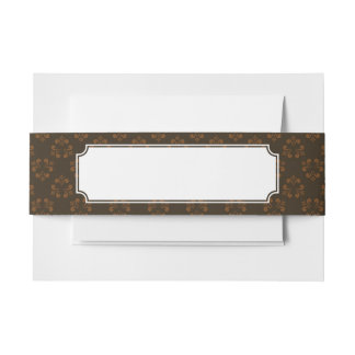 Brown abstract pattern invitation belly band