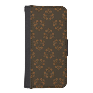Brown abstract pattern iPhone SE/5/5s wallet case