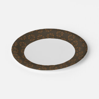 Brown abstract pattern paper plate
