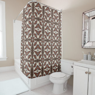 Brown Abstract Shower Curtain
