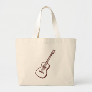 Brown Acoustic Classical Guitar Large Tote Bag