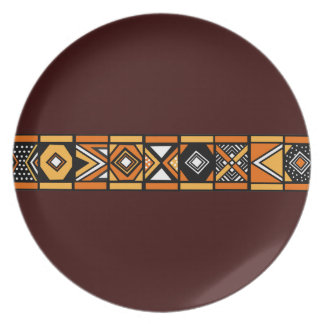 Brown African Art plate