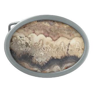 Brown agate gemstone, marble belt buckle