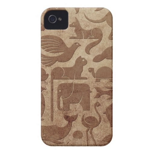 Brown Aged and Worn Animal Kingdom Pattern iPhone 4 Cases