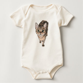 Brown American Shorthair Kitty Drawing Baby Bodysuit