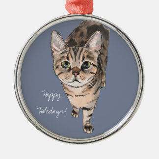 Brown American Shorthair Kitty Silver-Colored Round Decoration