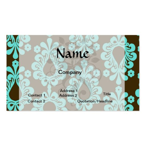 brown and aqua blue damask pattern business card
