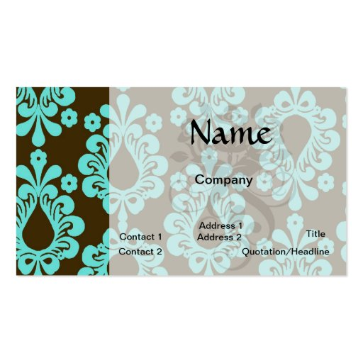 brown and aqua blue damask pattern business card templates