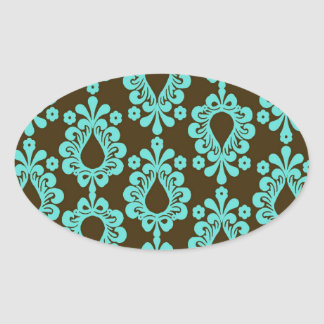 brown and aqua damask oval sticker