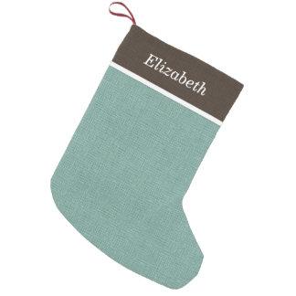 Brown and Aqua Rustic Holiday Monogram Small Christmas Stocking