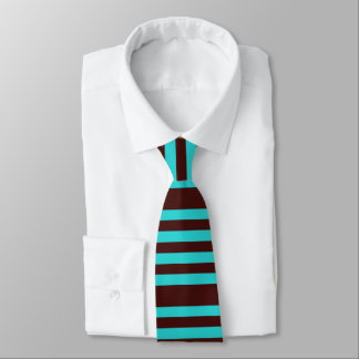 Brown and aqua striped tie