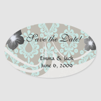 brown and aquamarine aqua blue damask oval sticker