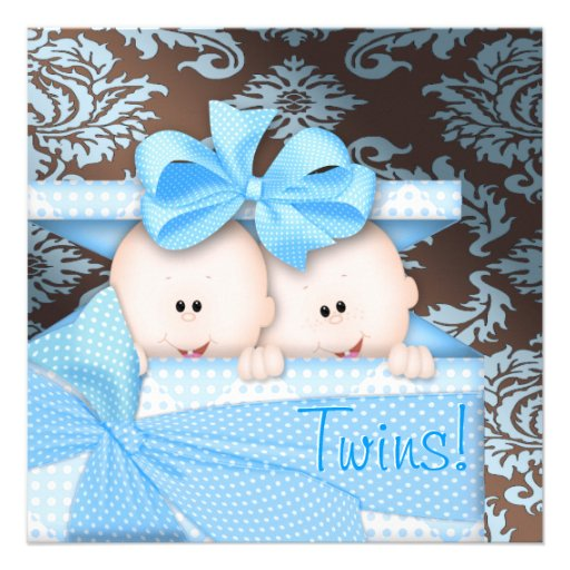 brown and baby blue twin baby shower square invitation card