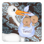 """Brown and Baby Blue Damask Twin Baby Shower 5.25"""" Square Invitation Card"""