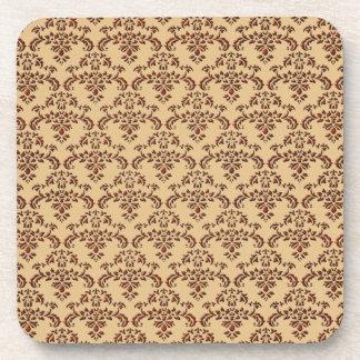 Brown and Beige Damask Pattern Drink Coaster