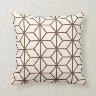 Brown and beige geometric art-deco pattern cushion