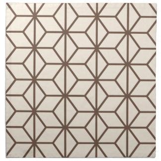 Brown and beige geometric art-deco pattern napkin