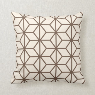 Brown and beige geometric art-deco pattern throw pillow