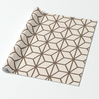 Brown and beige geometric art-deco pattern wrapping paper