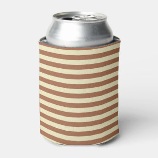Brown and Beige Stripes Can Cooler
