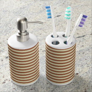 Brown and Beige Stripes Soap Dispenser And Toothbrush Holder