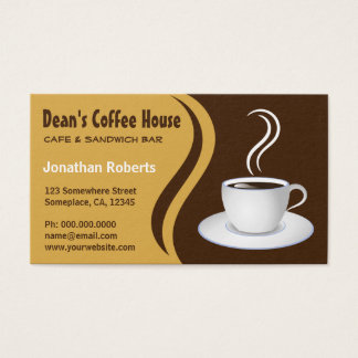 Brown and Beige Waves Coffee  House Shop Cafe Business Card