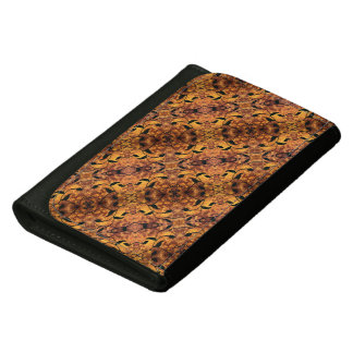 Brown And Black Autumn Leaves Pattern Wallets For Women