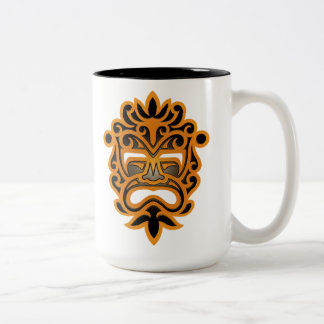 Brown and Black Aztec Mask Two-Tone Mug