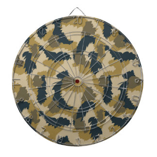 Brown and Black Camouflage Dartboard