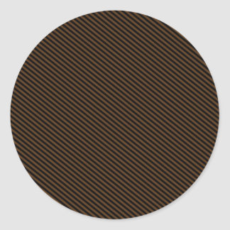 Brown and Black Diagonal Stripes Round Stickers
