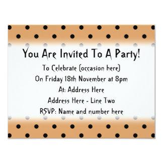 Brown and Black Polka Dot Pattern. 11 Cm X 14 Cm Invitation Card